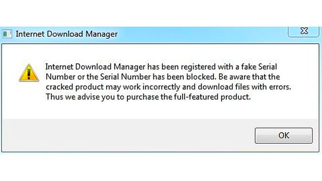 Internet Download Manager has been registered with a fake Serial Number or the Serial Number has been blocked. Be aware that the cracked product may work incorrectly and download files with errors. Thus we advise you to purchase the full-featured product.