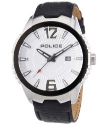 CEAS de BARBAT Police Vice Men's Quartz INOX ARGINTIU si CUREA din PIELE NEAGRA